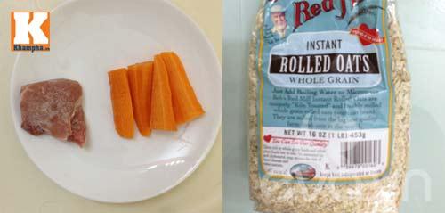 cháo yến mạch cà rốt thịt bằm cho trẻ biếng ăn 1