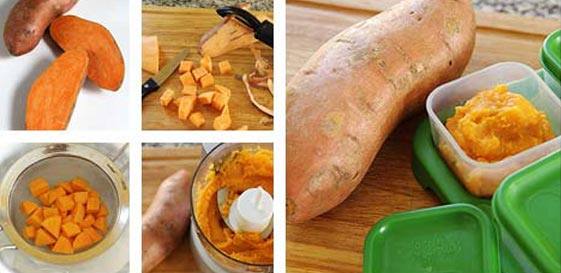 chế biến các món ăn dặm cho bé từ khoai lang 1