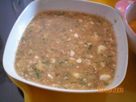 súp cua khoai tây đậu hũ cho bé ăn dặm